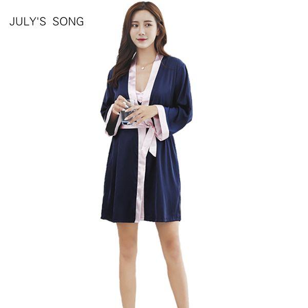 JULY'S SONG 2 Pièce Sexy Robe De Dentelle Robe Ensemble Femmes Soie Pyjamas Ensemble Robe De Sommeil Robe Peignoir Rouge Mariées De Mariage De Nuit Avec Ceinture