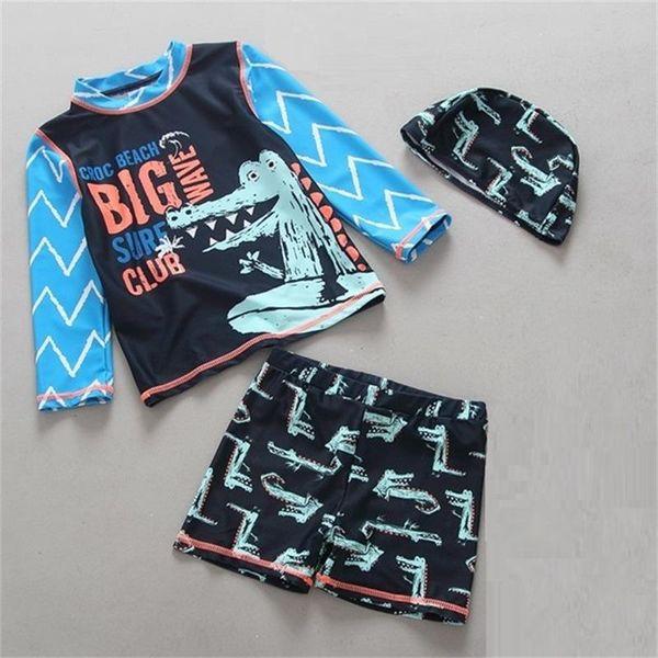 Popular Kids Swimsuit Boys Baby Anti UV Swimwear Two-pieces Blue Lovely Bath Suit Infant Quality Children Beachwear 2-6Years