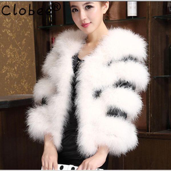 PU Leather Splice Ostrich Fur White Coat Women Winter 2019 Outwear Plus Size sobretudo de inverno feminino Faux Fur Jacket