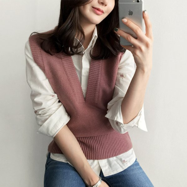 Women Cashmere Knitted Vest Sweater V-Neck Fashion Lady Sleeveless Tank Tops Jacket Korean Gray Outwear Vests Casual WaistCoat