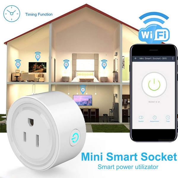 Mini Wifi Smart Socket Phone App Timing Switch Remote Control US Plug Outlet Socket for Smart Home Automation Electronic System Alexa Google