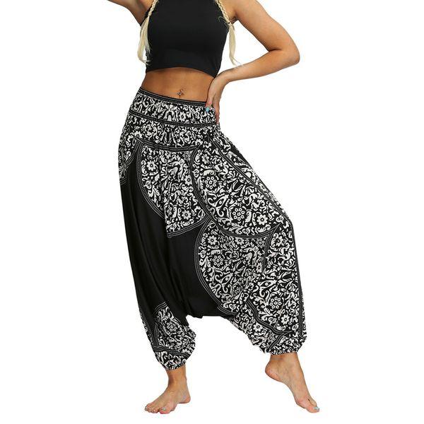 Frauen Beiläufige Lose Yoga Hosen Baggy Boho Aladdin Overall Pluderhosen Yoga Gym Sport Bequeme Schwarz Weiß Hosen N20