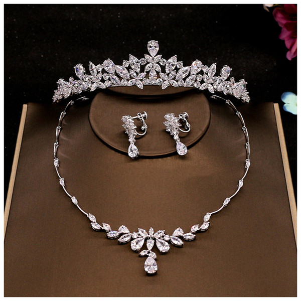 Flower Crown Set Wedding Accessory Trendy Zircon Tiara Necklace Rhinestone Crown For Bride Wedding Pageant Crowns