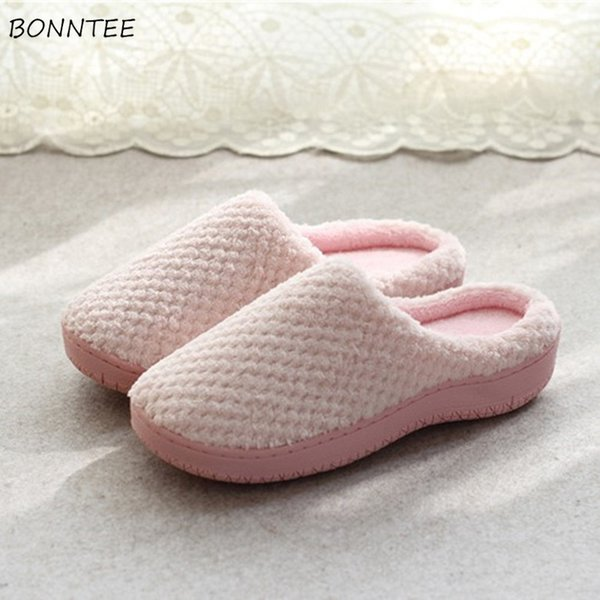 Winter Sippers Women Simple Comfortable Soft Plush Home Slipper Womens Warm Casual Flat with Non-slip Korean Style Cotton Shoes