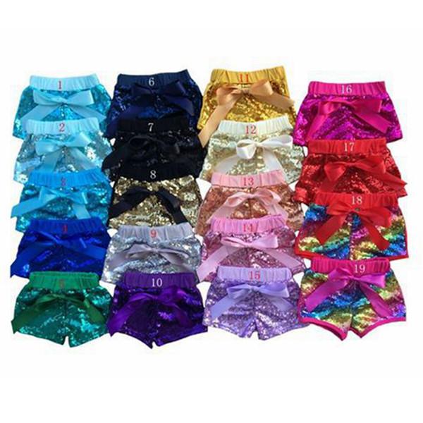 Bebek Kız Sequins Şort Pantolon Moda Rahat Pantolon Bebek Glitter Bling Dans Butik Yay Prenses Şort 20 renkler RRA847