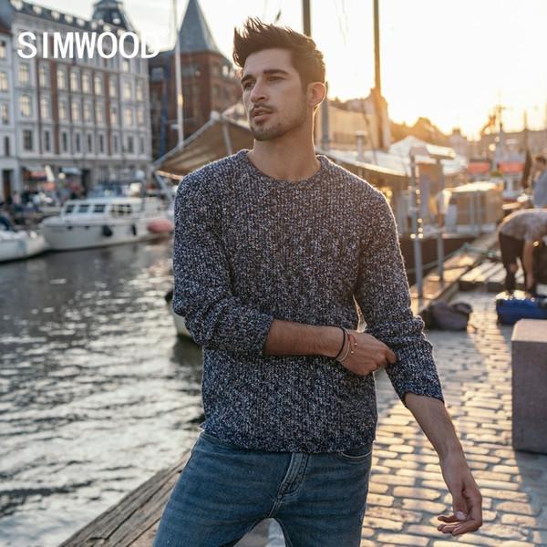 Simwood Mix Cashmere Suéter Homens Heathered Cor Design Primavera Inverno Novas Camisolas Quente Pullover Plus Size Roupas de Marca 180553 T190618