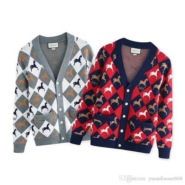 103 # 19 anos Pony Rugby Jacquard Knit Cardigan Sweater Jacket para homens e mulheres, tamanho: S-XXL.