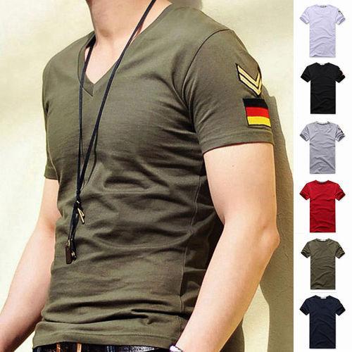 hot sale 2019New Men's Armband V Neck Short Sleeve T-Shirt Slim Fit Casual Basic Tee Shirts M-3XL