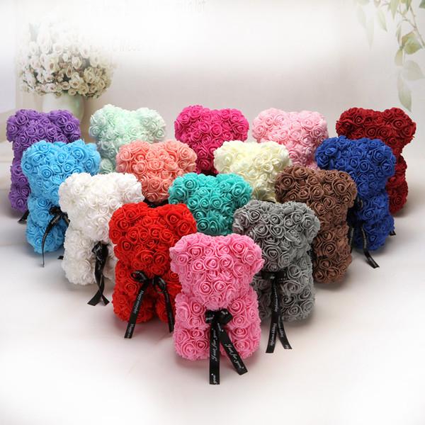 25cm Teddy Bear PE Foam Rose Flower Artificial Christmas Gifts for Women Girlfriend Kid Gift Plush Bear