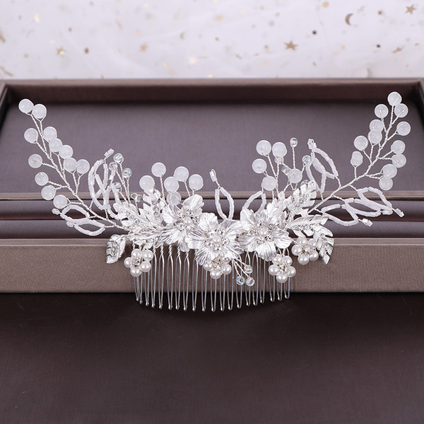 Fashion Rose Gold Hair Combs Crystal Flower Leaf Bridal Wedding Hair Accessories