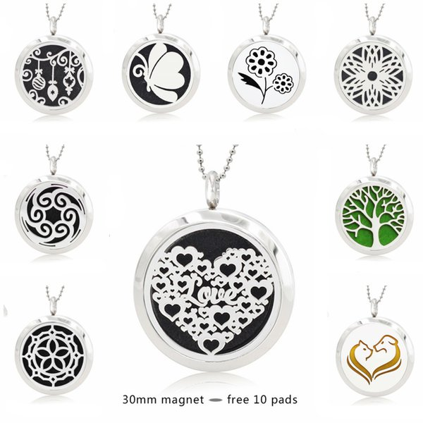 best selling Love Heart butterfly tree 30mm Magnet Stainless Steel Diffuser Necklace Pendant Essential Oil Aromatherapy Perfume locket 10 Pads (no chain)