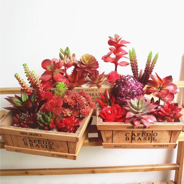 Bonsai Artificial Succulent Wedding Christmas Party Decoration Fake Plants Grass Leaves DIY Flower Arrangement Accessories
