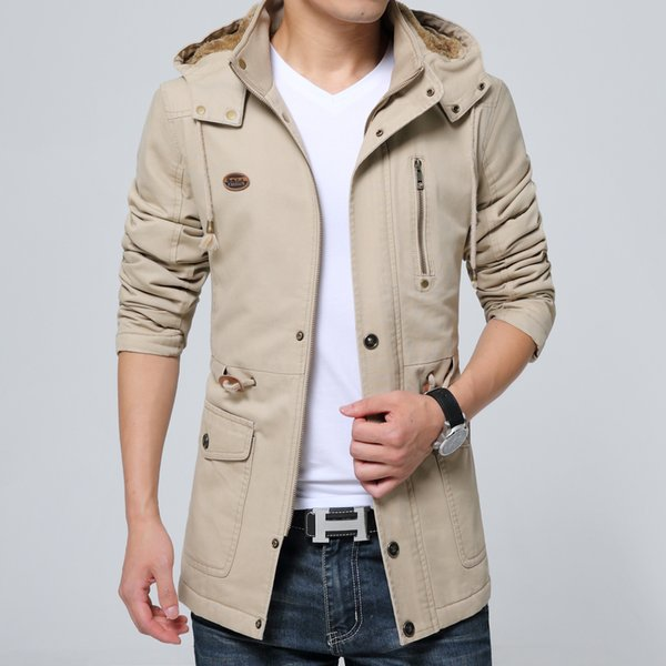 Cotton plus velvet thick jacket men's winter new washed jacket in the long section men's windbreaker warm Korean youth