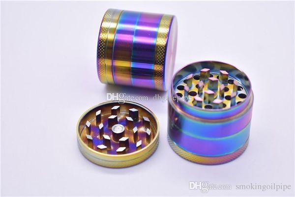 DHL free 40mm 4 parts SharpStone Tobacco Grinder herb grinder cnc teeth filter net dry herb vaporizer pen rainbow zinc alloy smoking grinder