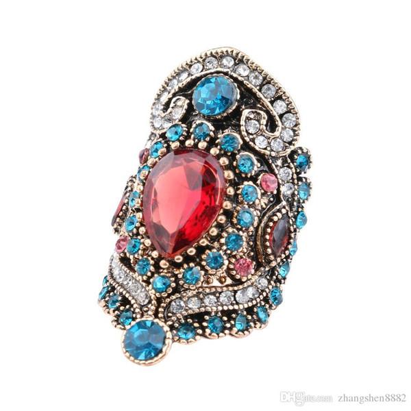 2019 nova amazon nova banhado a ouro em pó de cristal azul diamante retro anel feminino yiwu fonte de fábrica por atacado a3141