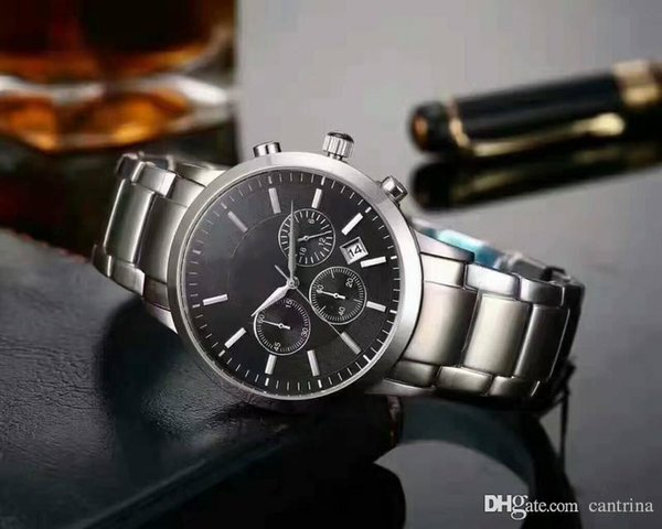 2019 quartz watch business casual brand stainless steel with multi-function AR2453 sports men's watch