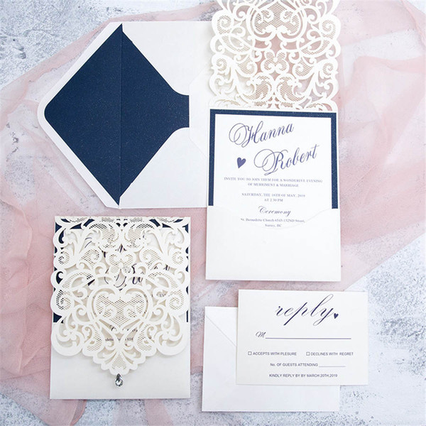 Hot Personalized Hollow Wedding Invitations Cards Laser Cut