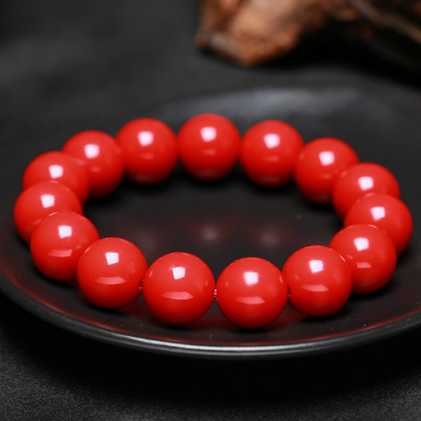 Chinese Red Organic Zinnober 8-16mm Goldfolie Perlen elastische Armband-Art- und Weisemann Ähd Frau Luck Amulet Geschenke Schmuck New
