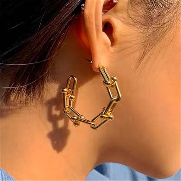 best selling Women Vintage Hoop Earrings Metal U Shape Chain Hoops Punk Earrings for Women Gothic Jewelry Gold Circle Earring Hyeperbole Bijoux