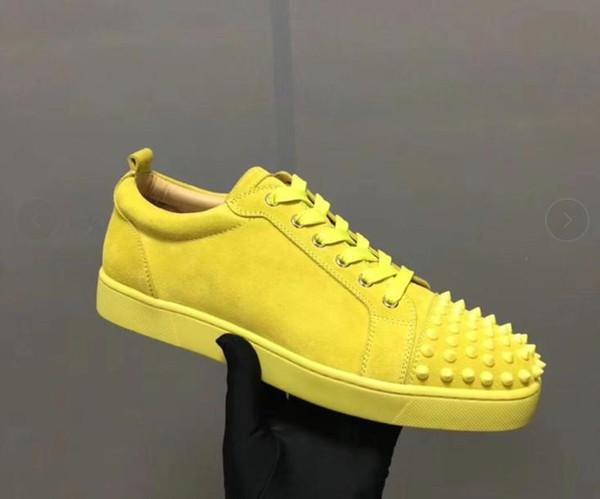 Tênis de grife Fundo Vermelho Spikes Velours Plana Camurça Tênis de Cinza De Ferro homens formadores 100% sapatos de festa de couro real mn1896017