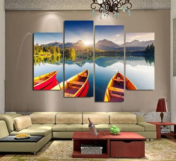 4pcs/set Unframed Lake Scenery Boats and Sunrise Print On Canvas Wall Art Picture For Home and Living Room Decor