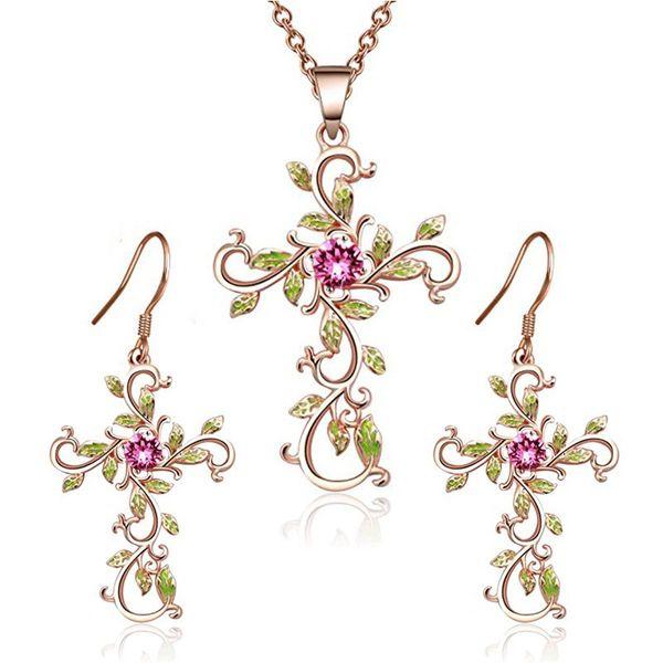 Gifts Jewelry God We Trust Women Cross Pendant Ear stud Dangle Earring Necklace