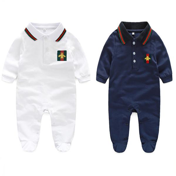 2019 Baby Revers Langarm Strampler Mode Kinder Stickerei Biene Overall lässig niedlich Neugeborenen Kleidung Baumwolle Säugling Jungen Mädchen Kleidung