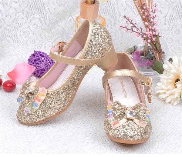 Spring Summer Girls Glitter Shoes High Heel Bowknot Shoe for Children Party Sequins Sandals Ankle Strap Princess Kids Shoes 5colorNEW A42506