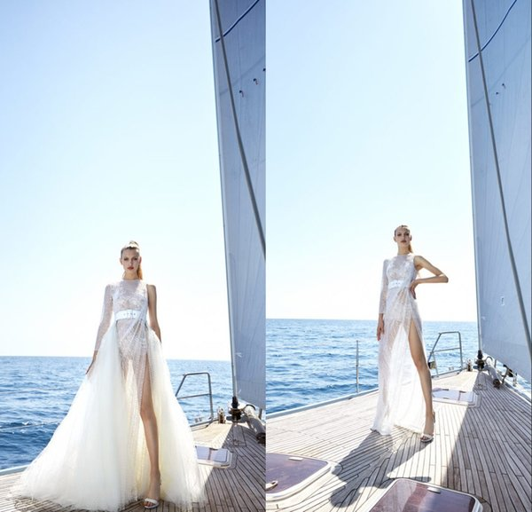 Modeste Yolancris Une ligne Robes de Mariée avec une épaule détachable train à manches longues en dentelle de Split Robes de mariée balayage train robe de mariée