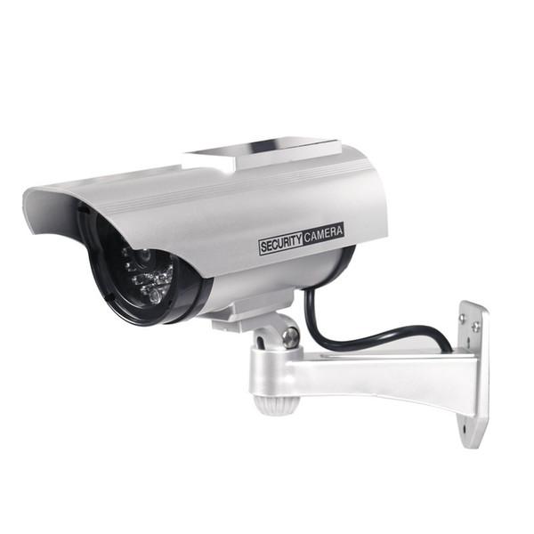 Kukla Kamera Güneş + Akülü Titreşimsiz LED Açık Sahte Gözetim Ev Güvenlik Kamera Video
