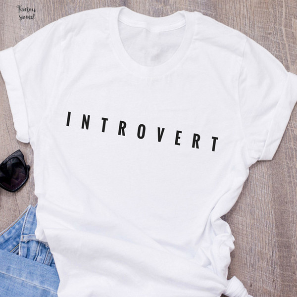 Introvert T Shirt Women Funny Letter Socially Printed Awkward T Shirt Cotton Short Sleeve O Neck Womens Clothing Camiseta S