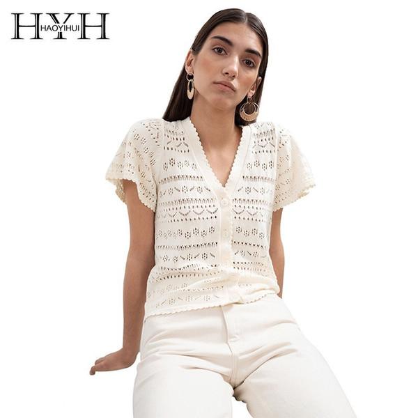 Hyh haoyihui frauen böhmischen strand stil 2019 neue sommer open stitch fashion solid brust tops dünne sexy hohl v-ausschnitt pullover