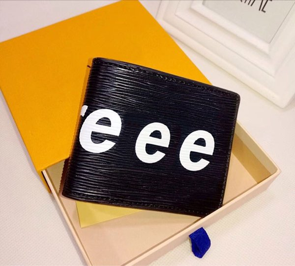 High quality PU material men's wallets fashion multi-card European style folding Credit Card Wallet Pocket purse with box