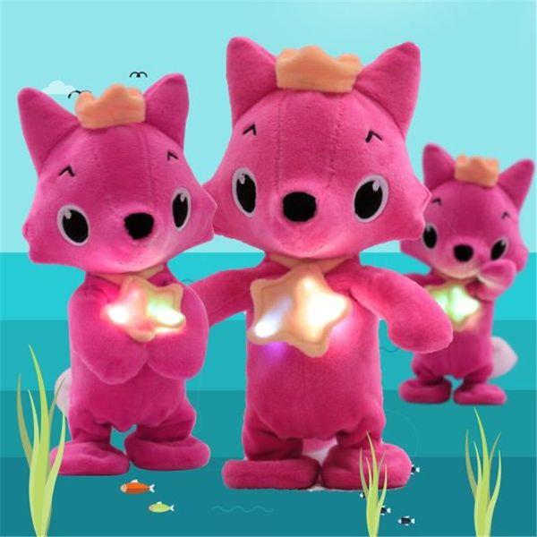 Bebé tiburón zorro de peluche de juguete de 18 cm de dibujos animados lleno de animales lindos muñeca suave música luces caminando zorro juguete regalo MMA1894