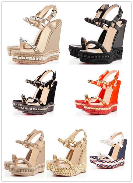Seksi Yaz Cataclou Çiviler Platformu Espadrilles Sandalet Kama Bayanlar Gladyatör Sandalet Kadınlar Kırmızı Alt Ayakkabı Lüks Tasarımcı Parti Çar