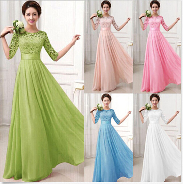 Long Chiffon Dress Elegant A Line O Neck Half Sleeve Wedding Party Gowns Lace Bridesmaid Dresses Robe Demoiselle D'honneur Q190525