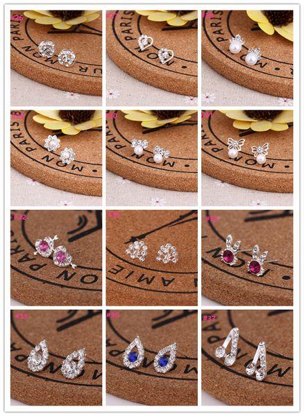 Pendientes de la vendimia Perlas Tachuelas Coreano Simple 925 Pendiente Estudiantes Personalidad alérgica creativa Pura plata Joker Pendientes de diamantes Mini