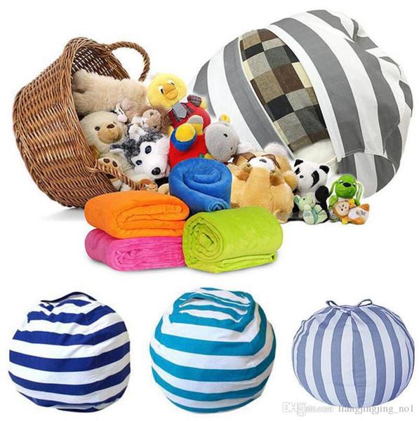 Creative Storage Stuffed Animal Storage Bean Bag Chair Portable Kids Toy Storage Bag Play Mat Clothes Organizer Tool 5pcs LJJ_OA4335
