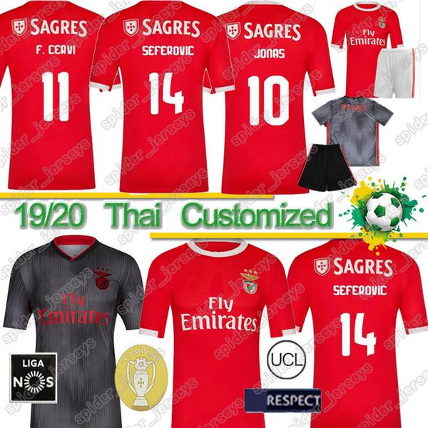 Thai Benfica Jersey 19 20 Thai JOAO FELIX homens crianças kit PIZZI Seferovic SALVIO Casa Fora 2019 2020 camisas de futebol