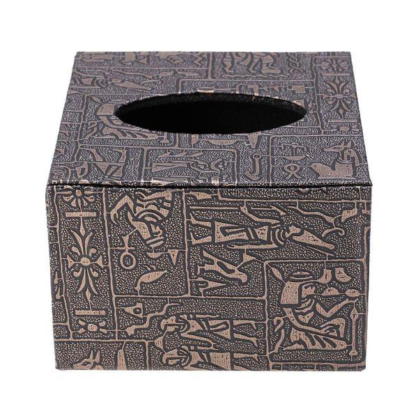 1 pc Desktop Tissue Box Wooden Square Retro Leather Paper Holder Napkin Case for Car Restaurant Office