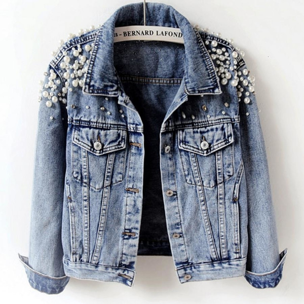 2019 molla perla di modo di autunno breve abbassare donne del rivestimento del denim del collare tre manicotto del quarto slim jacketMX190929