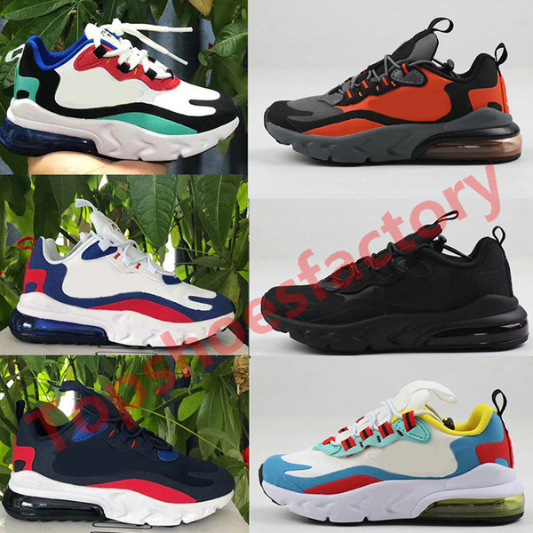 best selling 2020 New 270 React Bauhaus TD Kids air cushion Shoes Boy Girls Running Shoes Black White Hyper Bright Violet Toddler Children Sneakers 28-35