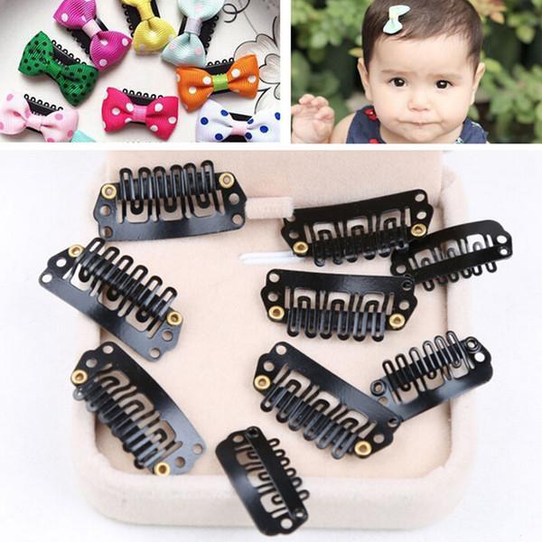 Clipes 50PCS Preto snap cabelo para extensões U Forma clipe Weave peruca peruca 9 Dentes clipes accessores Hair Styling Ferramenta Atacado