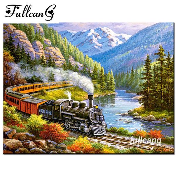 2019 FULLCANG Full Square Needlework Diamond Embroidery Train Scenery DIY  5D Diamond Painting Cross Stitch Mosaic Kits F589 From Yi18, $23 12 |