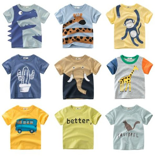 best selling 68 Designs Cartoon Print Baby Boys Dinosaur T Shirt For Summer Infant Kids Boys Girls Lion T-Shirts Clothes Cotton Toddler Letter Tops