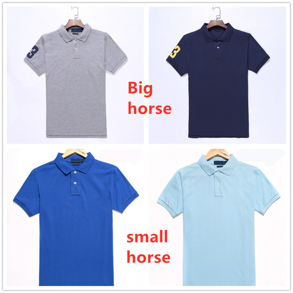 top popular mens Polo shirts horse Embroidery label men Polo Hommes Classic business casual top Tee Plus Big horse Cotton breathable size S-2XL 2020
