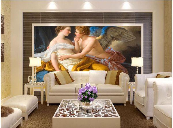 3d wallpaper custom photo Love God Kiss European Art Oil Painting living room Home improvement 3d wall murals wallpaper for walls 3 d