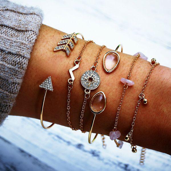 NIUYITID 6 teile / satz Frauen Armband Pfeil Feder Kristall Charme Hand Schmuck Für Freundin Armbänder Armreifen Drop Shipping