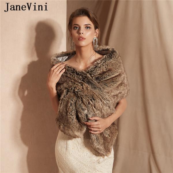 JaneVini 2019 Elegant Faux Fur Bridal Stole Wrap Winter Wedding Cape High Quality Jacket Shrug Shawl Brides Wedding Accessories New Arrival