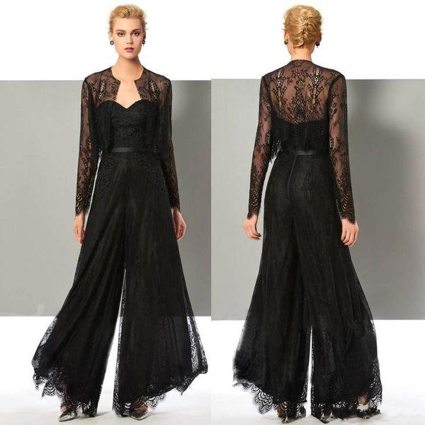Elegant Black Lace Jumpsuit Mother Of The Bride Pant Suits Wedding Guest Dress With Jackets Plus Size Mothers Groom Dresses BC2604